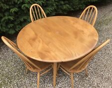 SUPERB RETRO ERCOL EXTENDING DINING TABLE VERY CLEAN  & 4 QUAKER DINING CHAIRS