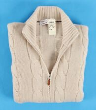 $2695 NWT - BRUNELLO CUCINELLI 100% CASHMERE Full Zip Cable Sweater - Cream 52 L