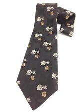 Vintage Necktie Wide Neck Tie Boho Brown Fine Jacquard Rose Flowers Herringbone
