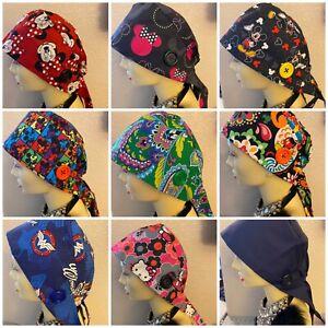 ✅USA SELLER✅Cartoon Medical Doctor Nurse Surgical Scrub Cap Hat/ JUMBO Buttons
