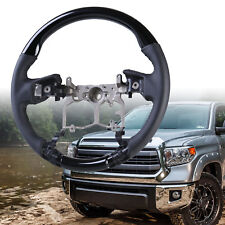 Steering Wheel Black Piano Black Leather For Toyota Tundra 3rd 2014-2018