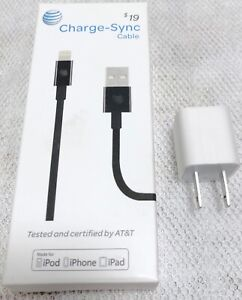 AT&T Charge Sync Lightning Cable 4ft iPhone iPad iPod & Apple USB Power Adapter