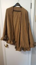 DENNIS BASSO WOOL AND CASHMERE BROWN CAPE WITH FAUX FUR ROSETTE DETAIL PLUS