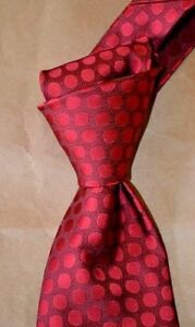 """$245 NWT TOM FORD RED w/self spots 3.5"""" men's luxury woven SILK tie Italy"""