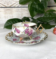 VINTAGE LM Royal Halsey Very Fine roses Tea Cup And Saucer Reticulated Gold Trim