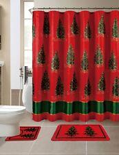 15 Piece Merry Christmas Trees Theme shower curtain Set