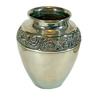 "SILVER COLORED METAL VASE from 7"" Tall Embossed Flower Floral rose Design"