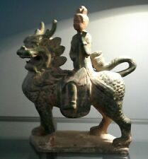 "14"" Chinese Tang San Cai Pottery Porcelain Dynasty Ride Dragon"
