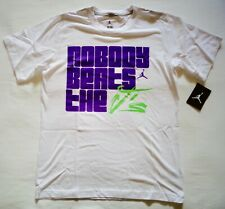 46659a9fe Nike Air Jordan T-shirt Nobody Beats The J's White Purple Lime Youth Large