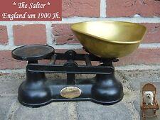 alte Waage Salter Made in England Küchenwaage Jugendstil Eisen Messing Schütte