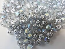 Czech bols beads silver AB frost beads 6 mm pack of 10