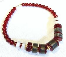 Monet Chunky Gold Red Bead Lucite Moon Glow Mod Rockabilly Necklace