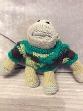Hand knitted for pg tips monkey. (Camouflage Jumper)