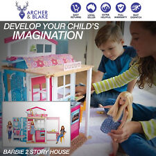 Barbie 2 Story House Dollhouse Doll House Pretend Play with Furniture Accessorie
