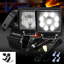 "9-LED Square Flood Beam Work Fog Lights+Wiring Harness Kit+3"" Mounting Brackets"