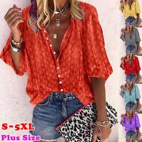 Women Half Sleeve Button Down Blouse Plus Size Summer Casual Shirt Tee Tops