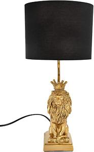 Golden Lion Table Lamp Shaped Black Shade Art Animal Home Decor LED Desk Bedside