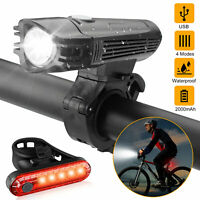 LED Bicycle Headlight USB Rechargeable Bike Cycling Head Light Rear Front Lamp