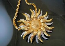 Kenneth Jay Lane KJL Day to  Night Sun Pin / Pendant with chain  Mechanical pin