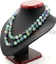 Round Necklace Long 35''Aaa Natural10mm Multicolor Fluorite Gemstone