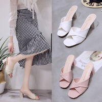 Women's Peep Toe Mules Sandals Block Mid Heels Slippers Casual Shoes Slides @