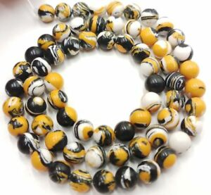 New 6-10mm Yellow Multi-color Turquoise Gemstone Round Loose Bead 15inch