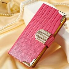 For Samsung Galaxy S4 Diamond Bling Textured Leather Wallet  Case Cover Hot Pink