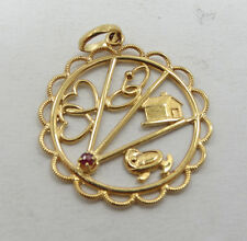 Nice 14K Yellow Gold Ruby Home Heart Baby Story Charm Pendant A182