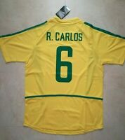 MAGLIA BRASILE R. CARLOS 6 MONDIALE COREA 2002 RETRO VINTAGE JERSEY PATCH MONDO