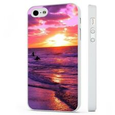 Pink Purple Sunrise Beach Surfing Waves WHITE PHONE CASE COVER fits iPHONE