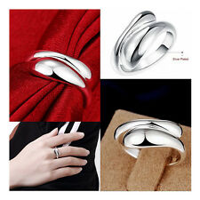 CR012 Women Ladies Fashion Jewelry Silver Plated Water Opening Rings + Gift Box