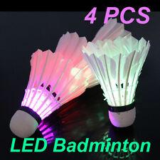 4PCS On/Off LED Lighting Badminton Birdies Dark Night Colorful Light Shuttlecock