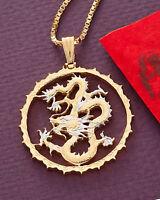 "Dragon Pendant & Necklace, Hand Cut Coin, 1 1/3"" Diameter, ( #706 )"
