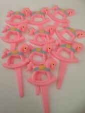 6 Pink Rocking Horses Cupcake Toppers /Baby Shower/ Birthday  /retro sweets