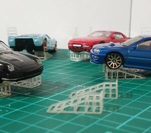 10x Twin Ramps For 1:64 Hot Wheels Matchbox Garage Diorama 3d Printed (10 cars)