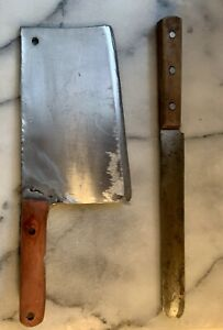 Heavy Duty Vintage Meat Cleaver and Bread Knife, Full Tang