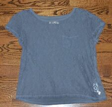 HOLLISTER WOMEN'S S SMALL GRAY LACE FRONT SHORT SLEEVE SHIRT TOP