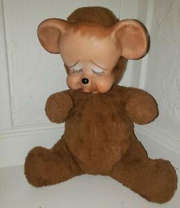 "Vtg Rubber Face Pouty Bear Knickerbocker Sad Crying Pouting 12"""
