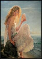 Girl by the Sea - Chart DIY Counted Cross Stitch Pattern Needlework 14 ct Aida
