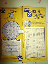 carte michelin 75 bordeaux tulle  1957