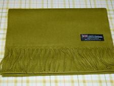 2 PLY 100% Cashmere Scarf Solid Olive WARM Scotland Wool Men Women Wrap Stole