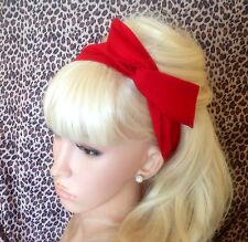 RED PLAIN COTTON BENDY WIRE HAIR WRAP WIRED BOW SCARF HEADBAND 50s RETRO STYLE