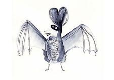 FLEDERMAUS Halloween Karte Illustration Zeichnung Postkarte Aquarell A6 (2)