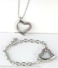 SECURE CLASP Pink Crystal Heart Floating Charm Locket Bracelet Necklace Set