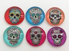 Fridge magnets, Glass x6. Decorated skulls, steampunk, retro