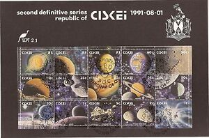 Ciskei 1991 Solar System miniature sheet on first day folder