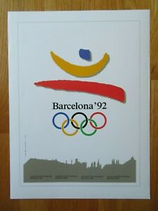 1896-96 Olympiad SUMMER OLYMPIC GAMES 1992 BARCELONA SPAIN Commemorative Poster