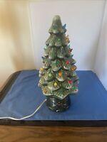 "VTG Lighted Ceramic Christmas Tree Snow Flocked w Holly Base & Star Works 17.5"""