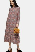 Topshop Smock Peplum Midi Shirt Dress - Multi Size 14 Uk Rrp £50
