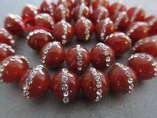 Carnelian w/ Rhinestone Round 10mm Beads 37 pcs